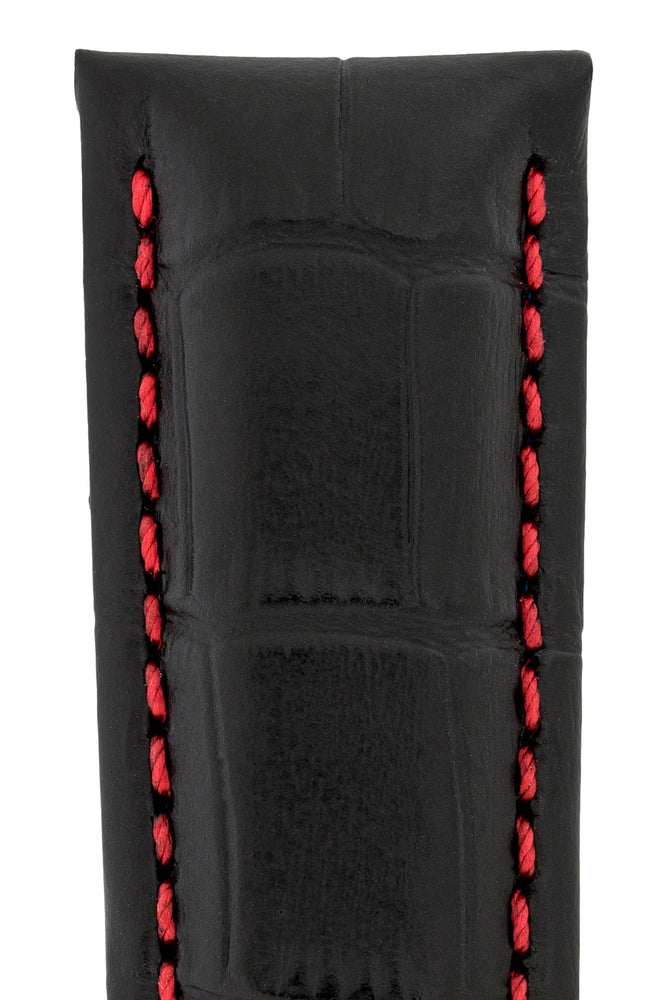 Hirsch Grand Duke Water-Resistant Alligator-Embossed Sport Watch Strap in Black with Red Stitch (Texture Detail)