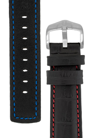 Hirsch Grand Duke Water-Resistant Alligator-Embossed Sport Watch Strap in Black with Red Stitch (Reverse/Tapers)