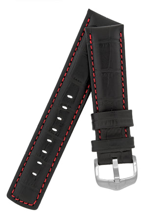 Hirsch Grand Duke Water-Resistant Alligator-Embossed Sport Watch Strap in Black with Red Stitch