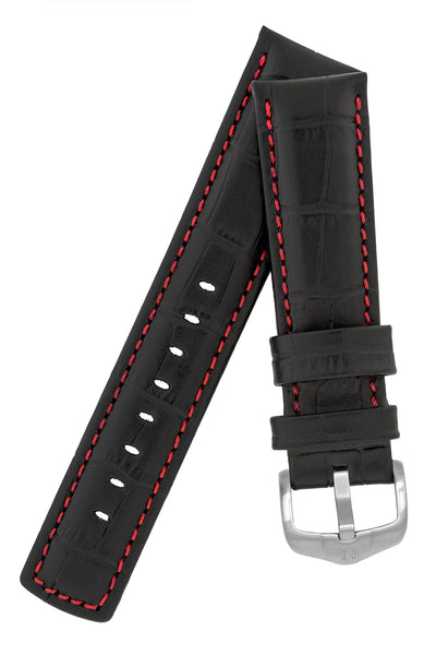 Hirsch GRAND DUKE Water-Resistant Alligator Embossed Sport Watch Strap in BLACK/RED