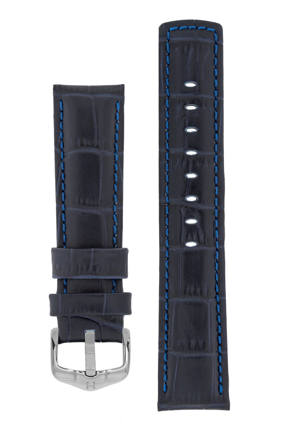 Hirsch GRAND DUKE Water-Resistant Alligator Embossed Sport Watch Strap in DARK BLUE