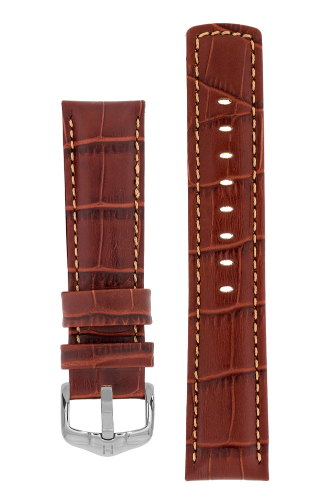 Hirsch GRAND DUKE Water-Resistant Alligator Embossed Sport Watch Strap in GOLD BROWN