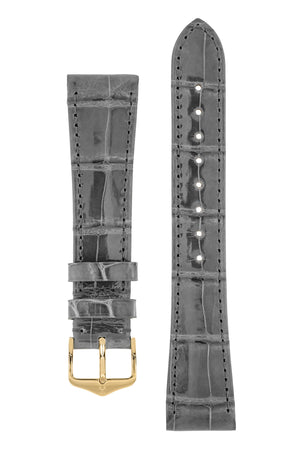 Hirsch London Genuine Shiny Glosee Alligator Leather Watch Strap in Grey (with Polished Gold Steel H-Tradition Buckle)