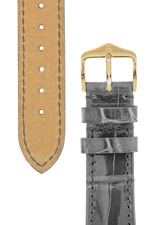 Hirsch London Genuine Shiny Glosee Alligator Leather Watch Strap in Grey (Underside & Tapers)