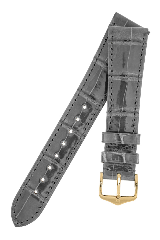 Hirsch London Genuine Shiny Glosee Alligator Leather Watch Strap in Grey
