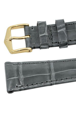 Hirsch London Genuine Shiny Glosee Alligator Leather Watch Strap in Grey (Keepers)