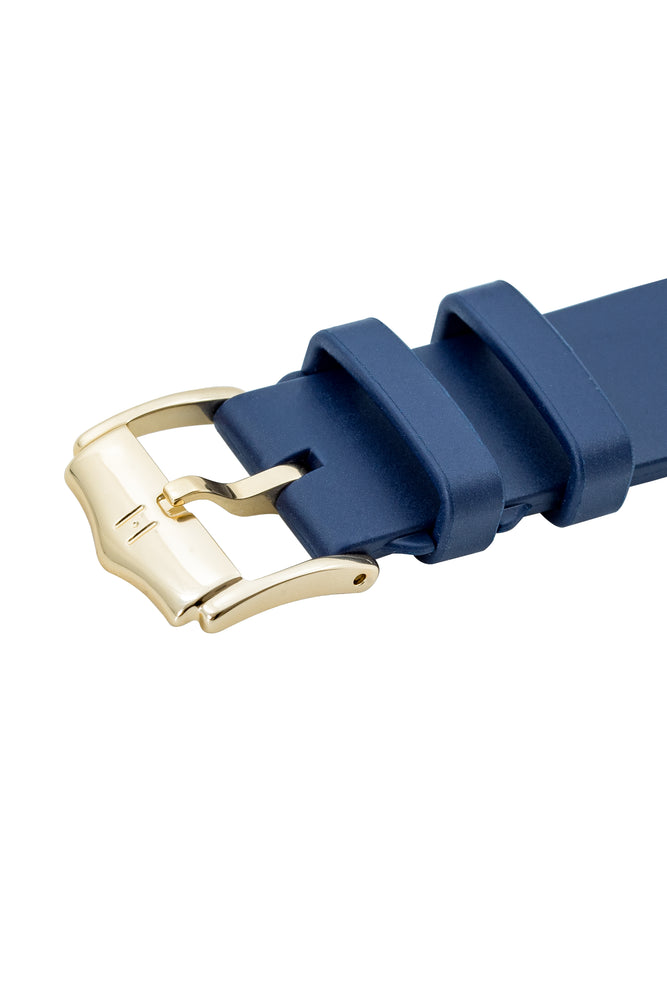 Hirsch H-Catwalk Polished Stainless Steel Buckle in Gold-Tone (Three-Quarter Angle on Leather Strap)
