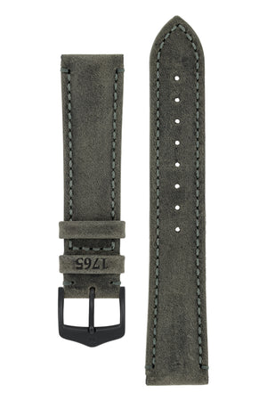 Hirsch Heritage Natural Calfskin Leather Watch Strap in Anthracite Grey (with Black PVD-Coated Steel H-Classic Buckle)