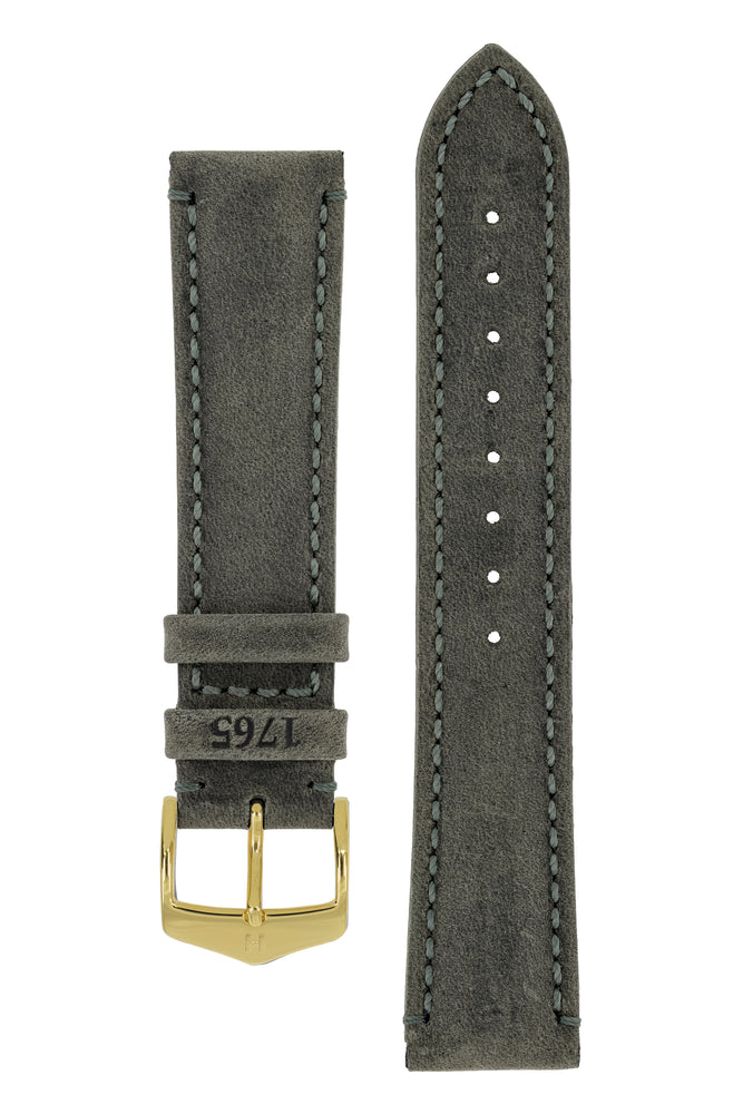 Hirsch Heritage Natural Calfskin Leather Watch Strap in Anthracite Grey (with Polished Gold Steel H-Classic Buckle)