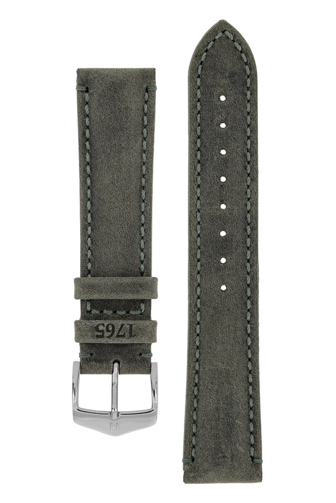 Hirsch Heritage Natural Calfskin Leather Watch Strap in Anthracite Grey (with Polished Silver Steel H-Classic Buckle)