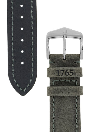 Hirsch Heritage Natural Calfskin Leather Watch Strap in Anthracite Grey (Underside/Tapers)