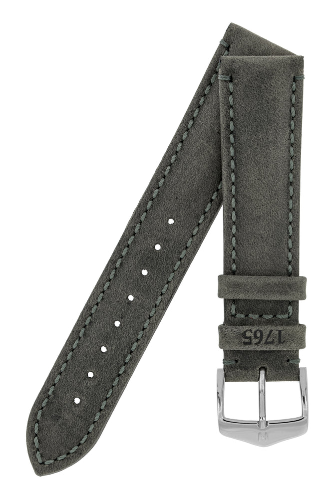 Hirsch Heritage Natural Calfskin Leather Watch Strap in Anthracite Grey