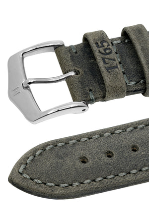 Hirsch Heritage Natural Calfskin Leather Watch Strap in Anthracite Grey (Embossed Keeper Detail)