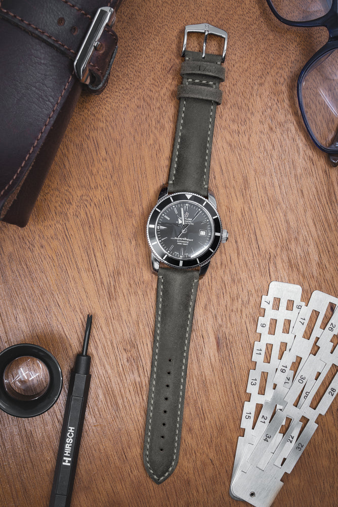 Hirsch Heritage Natural Calfskin Leather Watch Strap in Anthracite Grey (Promo Photo)