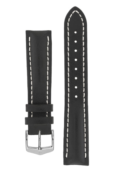 Hirsch HEAVY CALF Water-Resistant Calf Leather Watch Strap in BLACK/WHITE