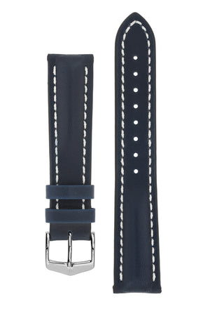 Hirsch HEAVY CALF Water-Resistant Calf Leather Watch Strap in BLUE