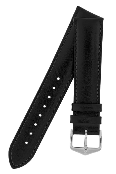 Hirsch HIGHLAND Calf Leather Watch Strap in BLACK