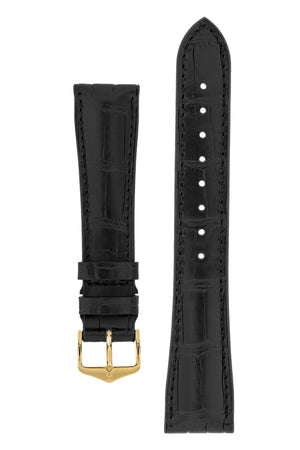 Hirsch Ian Louisiana Alligator Hide & Rubber Performance Watch Strap in Black (with Polished Gold Steel H-Tradition Buckle)