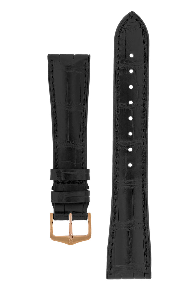 Hirsch Ian Louisiana Alligator Hide & Rubber Performance Watch Strap in Black (with Polished Rose Gold Steel H-Tradition Buckle)