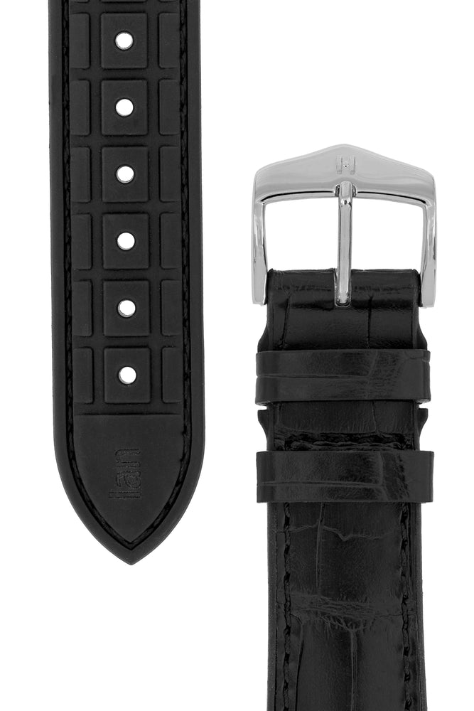 Load image into Gallery viewer, Hirsch Ian Louisiana Alligator Hide & Rubber Performance Watch Strap in Black (Underside & Tapers)