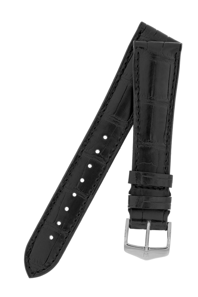 Load image into Gallery viewer, Hirsch Ian Louisiana Alligator Hide & Rubber Performance Watch Strap in Black