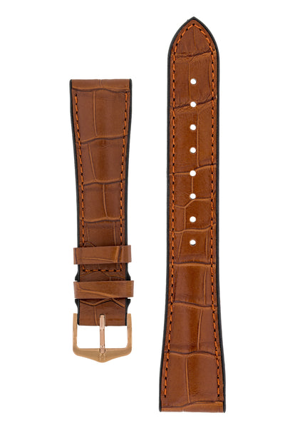 Hirsch Ian Louisiana Alligator Hide & Rubber Performance Watch Strap in Gold Brown (with Polished Rose Gold Steel H-Tradition Buckle)
