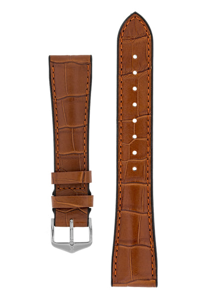 Hirsch Ian Louisiana Alligator Hide & Rubber Performance Watch Strap in Gold Brown (with Polished Silver Steel H-Tradition Buckle)