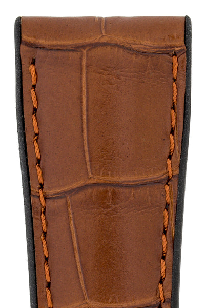 Hirsch Ian Louisiana Alligator Hide & Rubber Performance Watch Strap in Gold Brown (Close-Up Texture Detail)