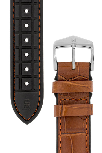 Hirsch Ian Louisiana Alligator Hide & Rubber Performance Watch Strap in Gold Brown (Underside & Tapers)