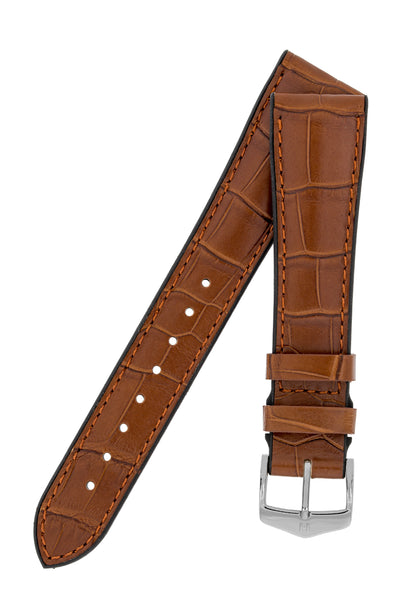 Hirsch Ian Louisiana Alligator Hide & Rubber Performance Watch Strap in Gold Brown