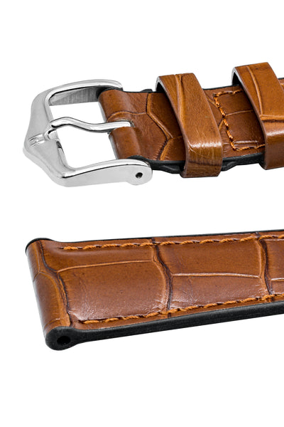 Hirsch Ian Louisiana Alligator Hide & Rubber Performance Watch Strap in Gold Brown (Keepers)