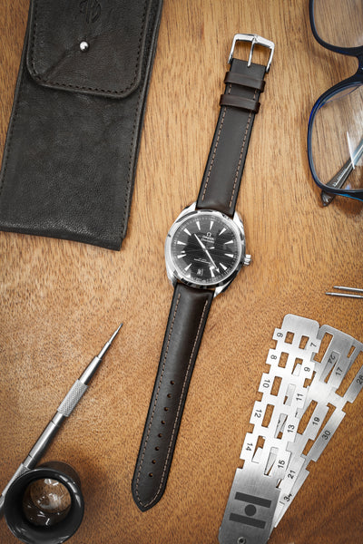 Hirsch James Calf Leather & Rubber Performance Watch Strap in Brown (Promo Photo)