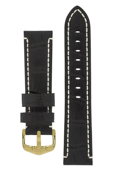 Hirsch KNIGHT Alligator Embossed Leather Watch Strap in BLACK