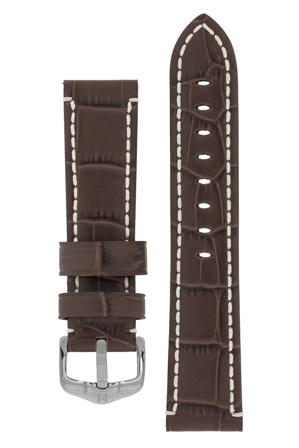 Hirsch KNIGHT Alligator Embossed Leather Watch Strap in BROWN