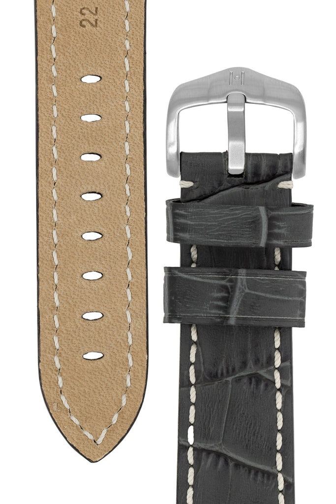 Hirsch KNIGHT Alligator Embossed Leather Watch Strap in GREY