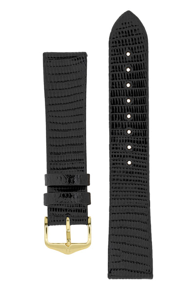 Hirsch Genuine Lizard Leather Watch Strap in Black (with Polished Gold Steel H-Standard Buckle)