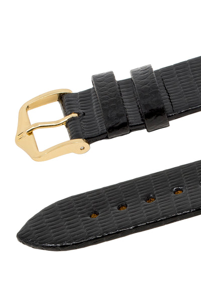 Hirsch Genuine Lizard Leather Watch Strap in Black (Keepers)