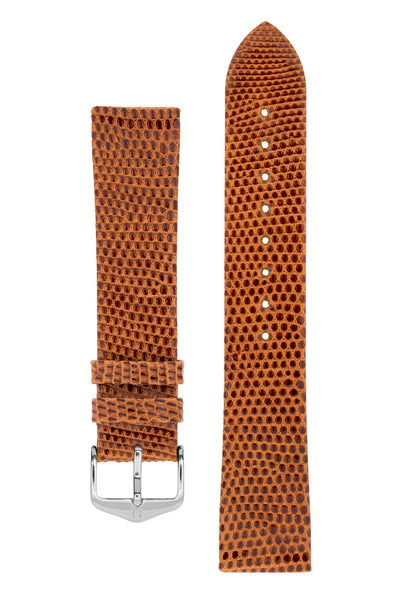 Hirsch LIZARD Leather Watch Strap in GOLD BROWN