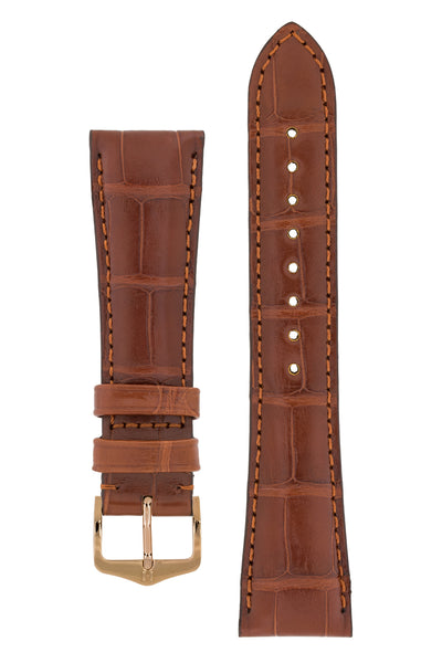 Hirsch London Genuine Matt Alligator Leather Watch Strap in Gold Brown (with Polished Rose Gold Steel H-Tradition Buckle)