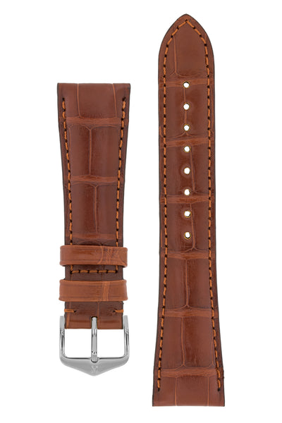 Hirsch London Genuine Matt Alligator Leather Watch Strap in Gold Brown (with Polished Silver Steel H-Tradition Buckle)
