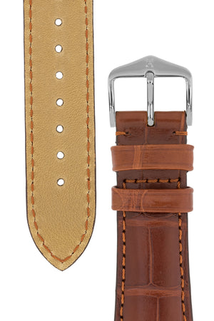 Hirsch London Genuine Matt Alligator Leather Watch Strap in Gold Brown (Underside & Tapers)