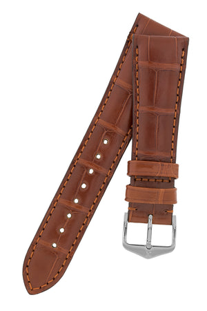 Hirsch London Genuine Matt Alligator Leather Watch Strap in Gold Brown