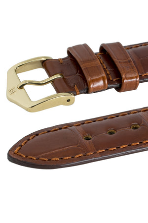 Hirsch London Genuine Matt Alligator Leather Watch Strap in Gold Brown (Keepers)