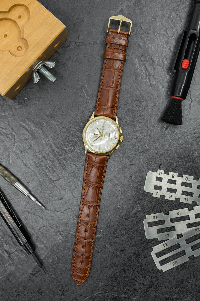 Hirsch London Genuine Matt Alligator Leather Watch Strap in Gold Brown (Promo Photo)