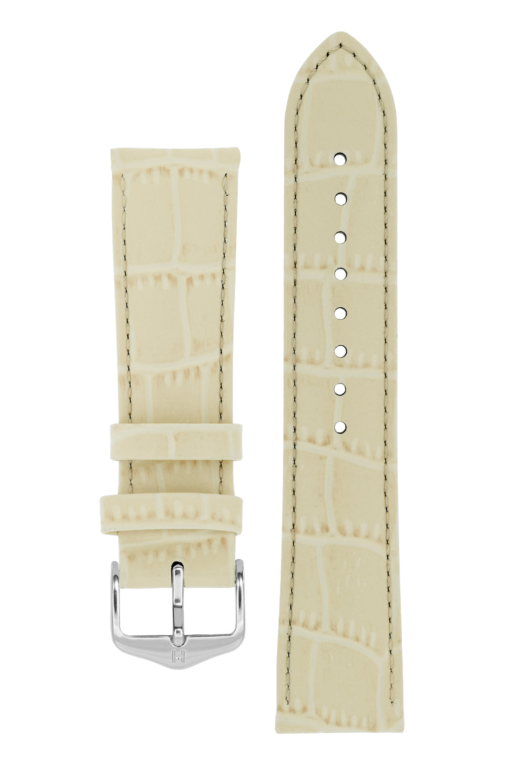 Hirsch LOUISIANALOOK Alligator Embossed Leather Watch Strap in BEIGE