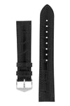 Hirsch LOUISIANALOOK Alligator Embossed Leather Watch Strap in BLACK