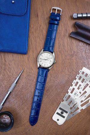 Hirsch LOUISIANALOOK Alligator Embossed Leather Watch Strap in BLUE