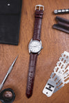 Hirsch LOUISIANALOOK Alligator Embossed Leather Watch Strap in BROWN