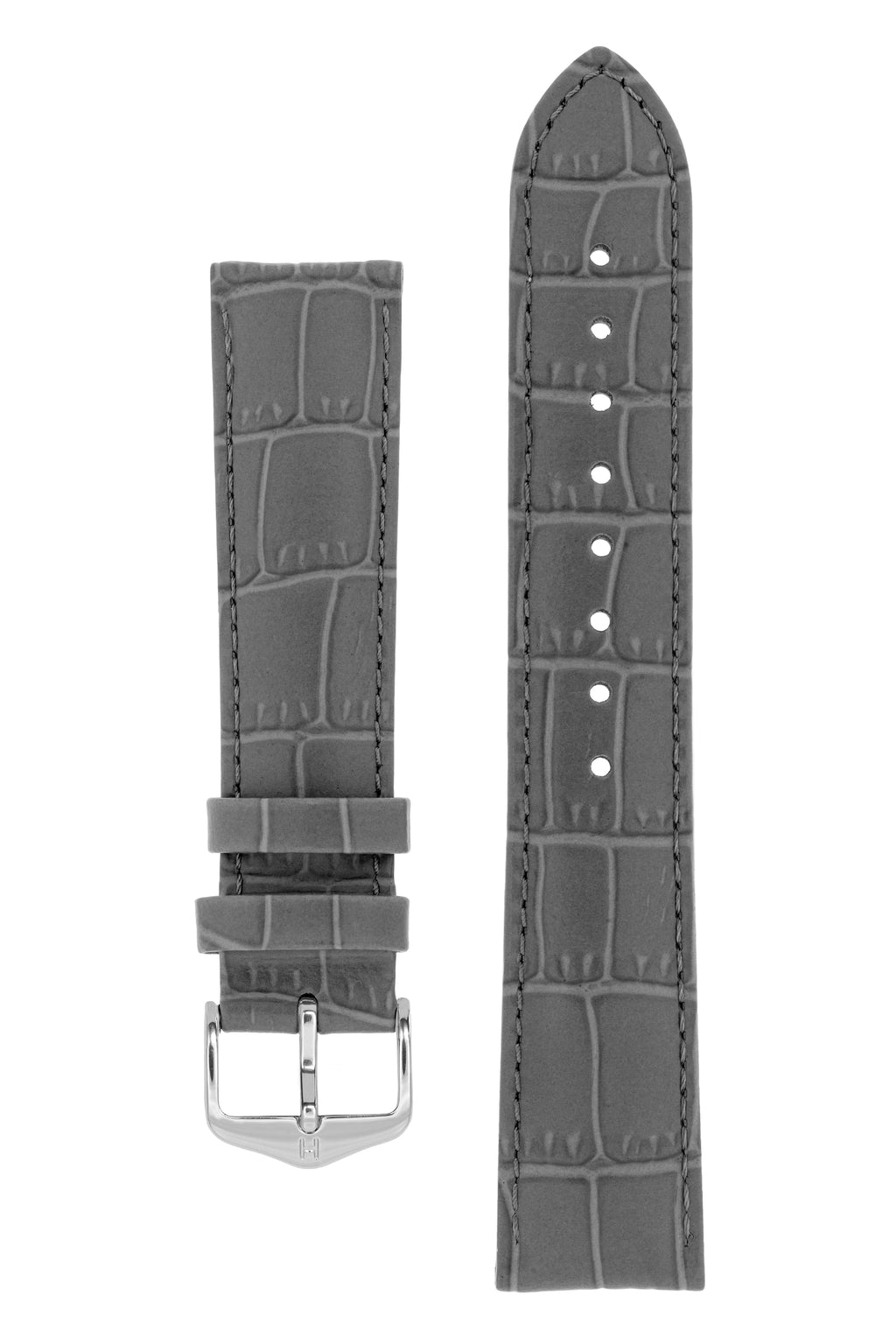 Hirsch LOUISIANALOOK Alligator Embossed Leather Watch Strap in GREY