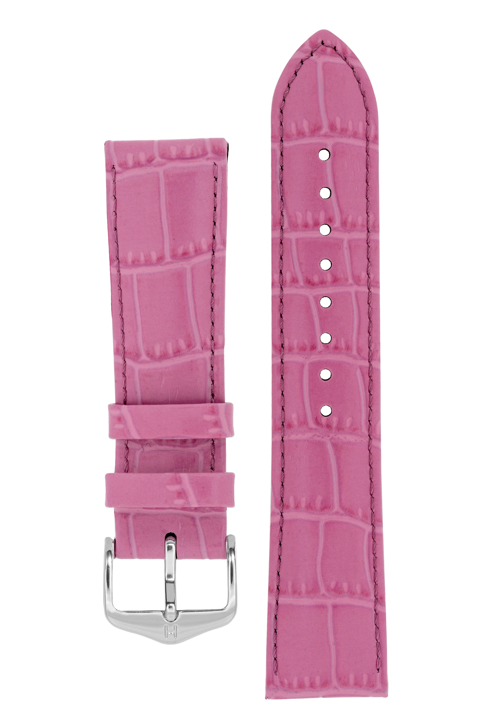 Hirsch LOUISIANALOOK Alligator Embossed Leather Watch Strap in PINK